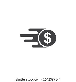 fast money icon, quick transfer of vector icon isolated white background