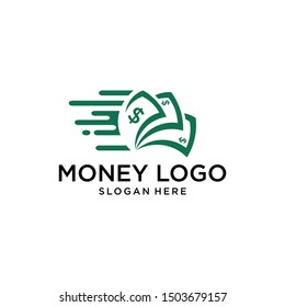 fast money logo combination. Fast pay symbol or icon. Unique cash and digital logotype design template.