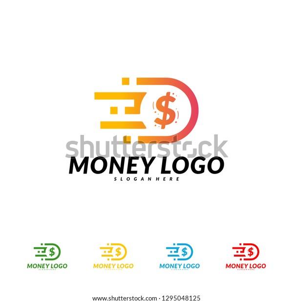 Fast Money Logo Design Concept Vector Stock Vector Royalty Free 1295048125