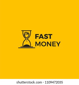 Fast money logo. Time is money icons with hourglass and gold dollar coin. Vector line art flat illustration