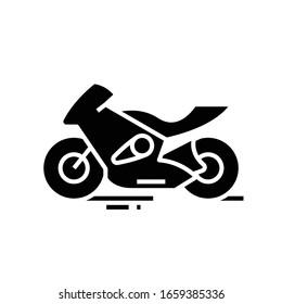 Schnelles motobike schwarzes Symbol, Concept Illustration, Vektorillustration flaches Symbol, Glyph-Zeichen.