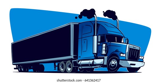 Fast Moving American Truck. Cartoon illustration