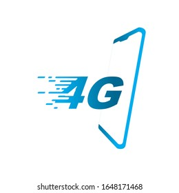 Fast Network 4G logo or icon on blue color