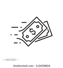 fast pay linear vector icon, money transfer line sign isolated on white background - editable stroke, vector illustration eps10