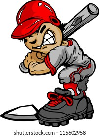 Fast Pitch Baseball Boy Cartoon Player with Bat Vector Illustration