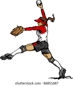 Fast Pitch Softball Pitcher Vector Illustration