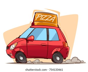 Fast Pizza Delivery. Cartoon car side view