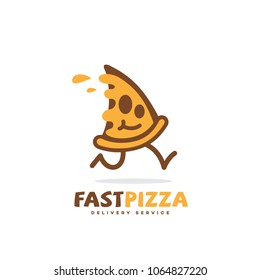 Fast pizza logo template design with running piece of pizza. Vector illustration.