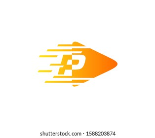 Fast Play P Letter Logo Icon perfect for entertainment, start up, music, audio and movie concept