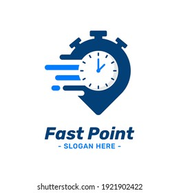 Fast point logo design template. Pin marker icon with timer combination. Symbol concept of delivery, courier, express, moving, transport, automotive, etc.