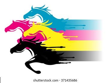 Fast printing concept. Four running horses in the print colors. Concept for presenting of color printing. Vector available.