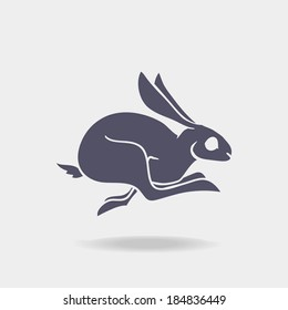 Fast rabbit dark logo. Vector Illustration