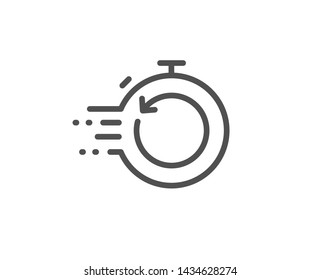 Fast recovery info line icon. Backup data sign. Restore timer symbol. Quality design element. Linear style fast recovery icon. Editable stroke. Vector