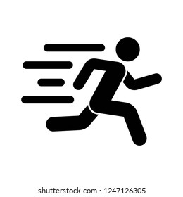 fast run icon, running icon vector on white background