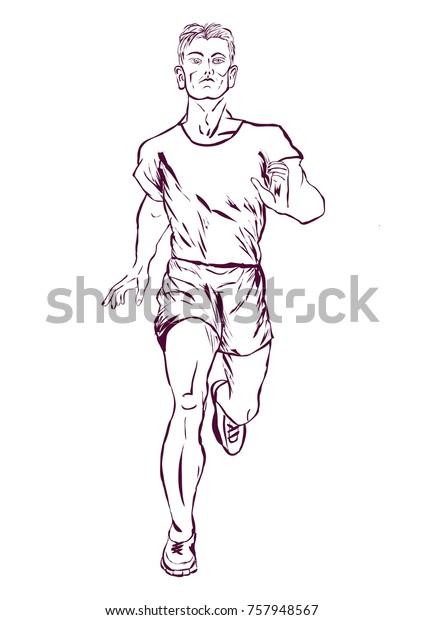 Fast Runner Sketch Vector Stock Vector (Royalty Free) 757948567