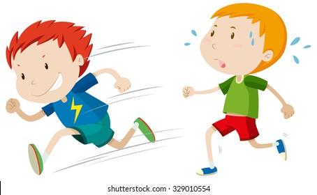 Fast runner and slow runner illustration
