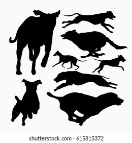 fast Running and jumping dog silhouette set collection