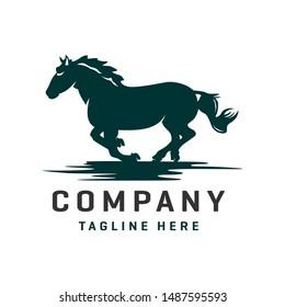 fast running silhouette horse logo design
