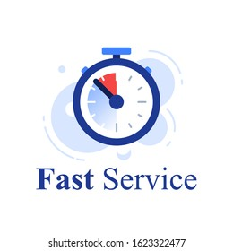 Fast service concept, last minute stopwatch, time clock, deadline timer, last offer countdown, quick order delivery, limited period, vector icon, flat illustration