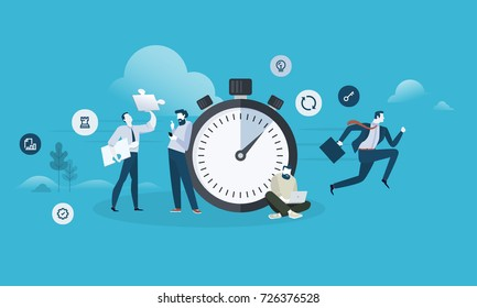 Fast service. Flat design business people concept. Vector illustration for web banner, business presentation, advertising material.