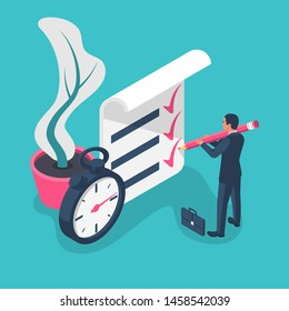 Fast service isometric icon. Businessman with big pencil puts the mark. Stopwatch with checklist and completed tasks. Vector illustration flat 3d design. Isolated on background. Successful people.