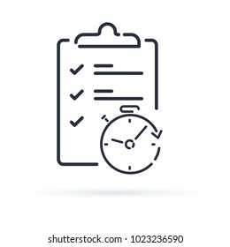 Fast service simple solution, project management and improvement checklist survey clipboard. Enrollment concept, opinion poll or terms and conditions time period, vector thin line icon