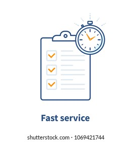 Fast service, simple solution, project management, improvement checklist, survey clipboard, enrollment concept, terms and conditions, time period, vector thin line icon illustration