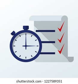Fast service. Stopwatch with checklist and completed tasks. Vector illustration flat design. Isolated on white background.