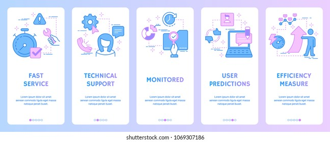Fast service, Technical support, Monitored, User predictions, Efficiency measure Vertical Cards with strong metaphors. Template for website design.