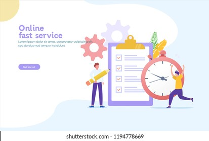 fast service vector illustration concept, can use for, landing page, template, ui, web, mobile app, poster, banner, flyer