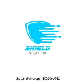 Fast shield protector logo icon design template. Abstract security company vector illustration