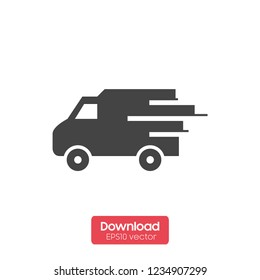Fast shipping delivery truck flat vector icon for apps and websites