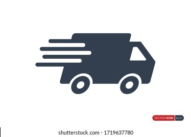 Fast Shipping Delivery Truck Icon isolated on White Background. Usable for Apps, Websites and Business Resources. Flat Vector Icon Design Template Element.