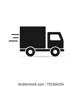 Fast shipping delivery truck icon. Vector symbol in flat style.