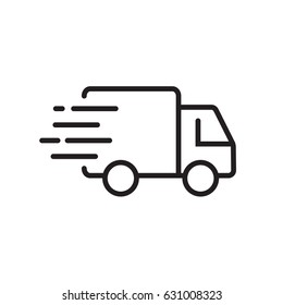 Fast shipping delivery truck. Line icon design. Vector illustration for apps and websites