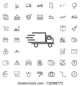 Fast shipping delivery truck line icon logistics transportation parcel shipping delivery icons set Flat isolated on the white background. Vector illustration.Trendy style for graphic design logo