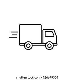 Fast shipping delivery truck outline icon in flat style. Vector line symbol.