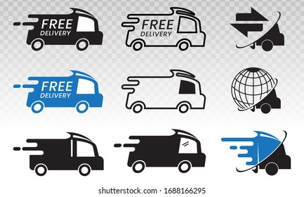 fast shipping / delivery truck package flat icons for apps and websites
