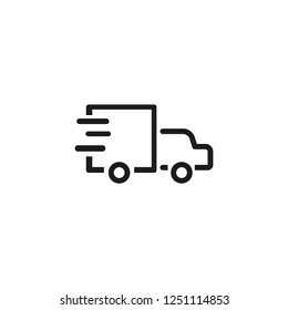 Fast shipping line icon. Truck, car, traffic. Delivery concept. Vector illustration can be used for topics like transportation, distribution, export