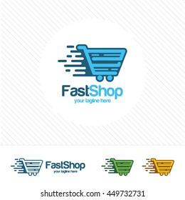 Fast shop logo design vector. Shopping trolley, shop market, and shopping cart design concept.