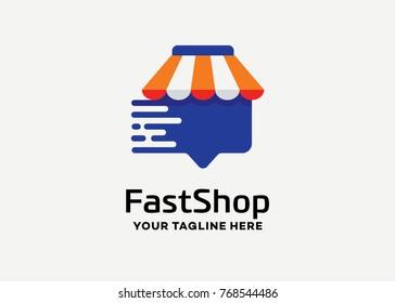 Fast Shop Logo Template Design Vector, Emblem, Design Concept, Creative Symbol, Icon
