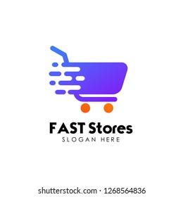 fast shopping cart logo design template. trolley icon design