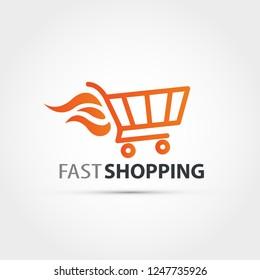 Fast shopping concept logo - shopping cart vector illustration