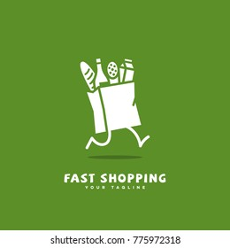 Fast shopping logo template design with a running package on a green background. Vector illustration.