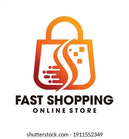 Fast Shopping Technology logo design template, Smart shopping online logo vector icon illustration, Fast Shopping Online, Creative logo templates made for online shopping.