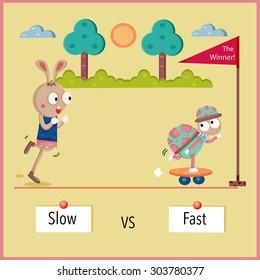 Fast and slow antonym cartoon, design, illustration, vector