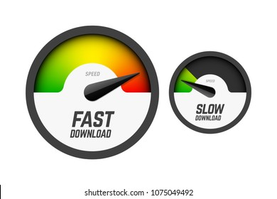 Fast and slow download speedometers, speed test, vector illustration