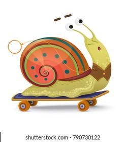 Fast snail. Cute cartoon snail on a skateboard isolated