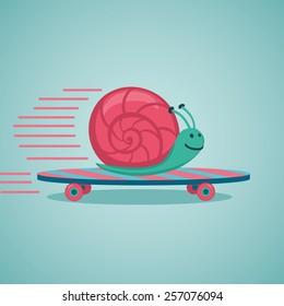 Fast snail. Snail on a skateboard.