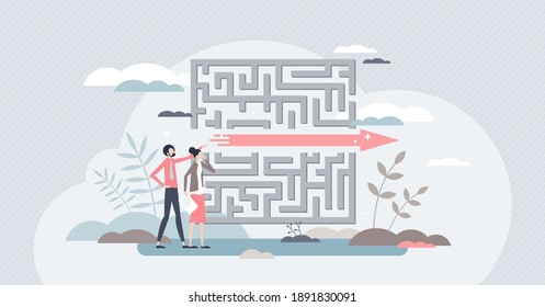 Fast solution as successful and effective problem overcome tiny person concept. Symbolic business strategy for distance shortcut as straight finish reach and easy path achievement vector illustration.